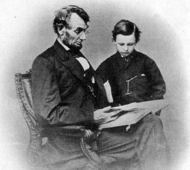 Abraham Lincoln and son Tad, Brady photo (Library of Congress)