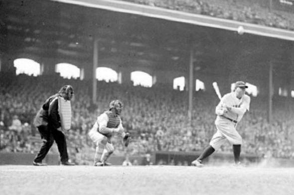 Babe Ruth in Chicago--but at Comiskey Park (Chicago Daily News)