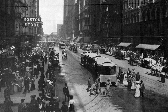 Cable cars at State and Madison, 1900 (CTA photo)