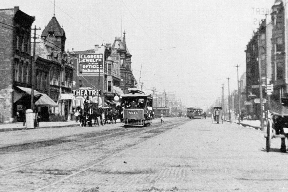 Early open streetcar on 12th Street near Western (author's collection)