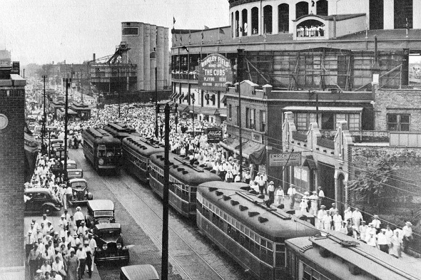 Waiting for the Wrigley Field crowd, about 1930 (CTA photo)