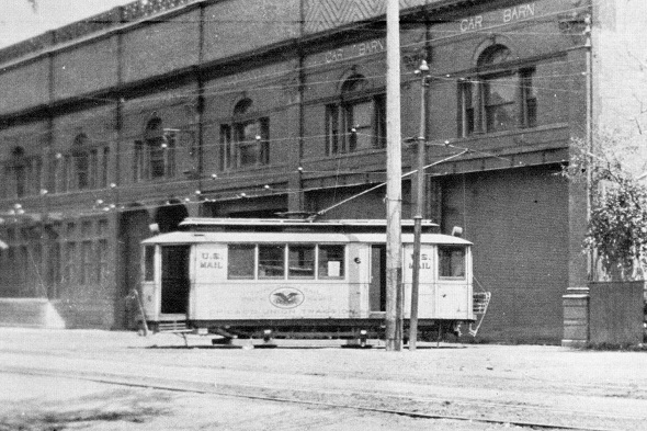 U.S. Mail streetcar at Broadway carbarn (author's collection)