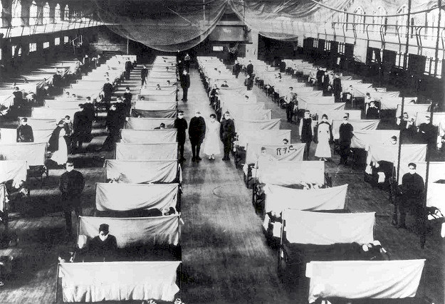 Makeshift hospital ward during the 1918 epidemic (Office of the U.S. Public Health Service)