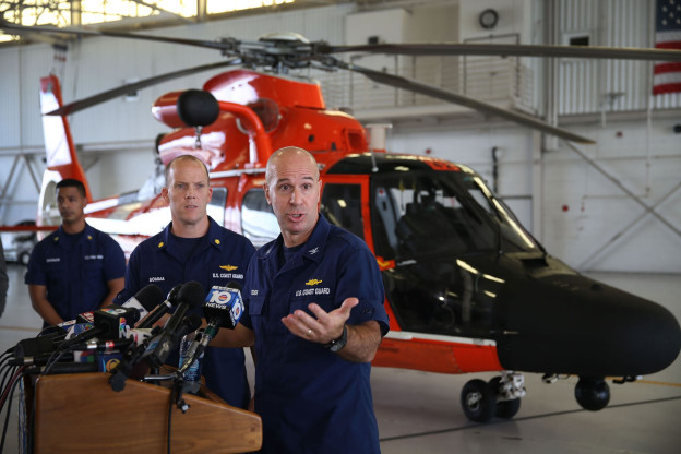 U.S. Coast Guard Captain Mark Fedor speaks to the media, at U.S. Coast Guard Station Miami, about the sinking of the 790-foot container ship El Faro on October 5, 2015 in Opa Locka, Florida. The Coast Guard has concluded that the ship most likely sank after encountering Hurricane Joaquin last Thursday, but Coast Guard cutters and aircraft and a U.S. Navy plane continued searching for the 33 missing crew members. (Joe Raedle/Getty Images)