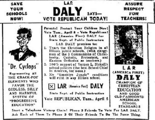 Lar Daly campaign ad (author's collection)