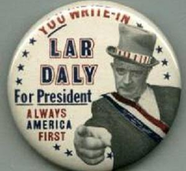 Lar Daly campaign button (author's collection)