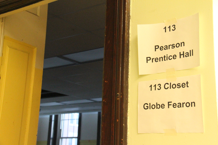 Von Humboldt Elementary classrooms are now labeled with the names of curriculum programs and publishers, signaling what's inside.  (WBEZ/Logan Jaffe)
