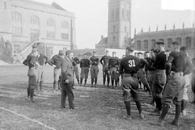 Coach Stagg at practice, 1916 (Library of Congress)