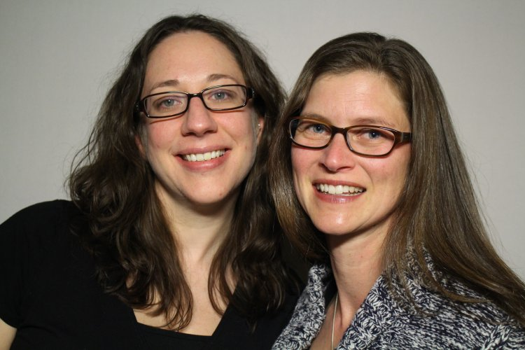 Friends Julie Knausenberger and Karen Williams interviewed each other at the Chicago StoryCorps Booth. (Photo courtesy of StoryCorps)