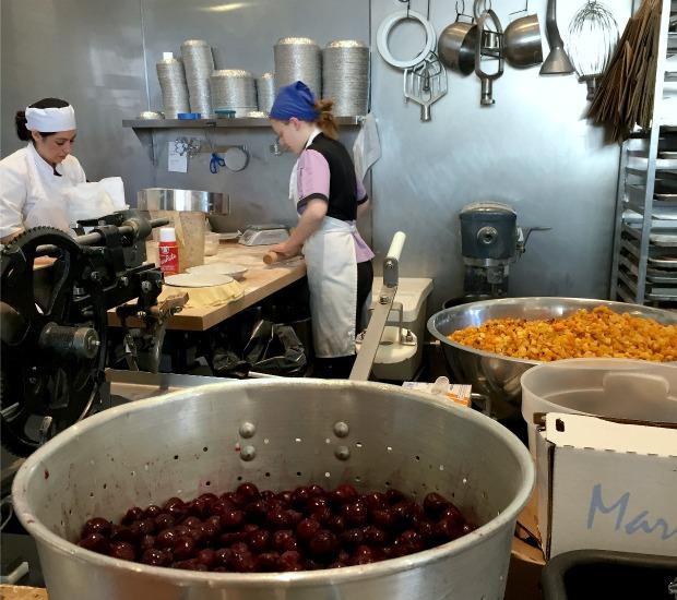 Employees at Hoosier Mama pie shop in Evanston prepare for this year's Epic Pi Day. (WBEZ/Greta Johnsen)