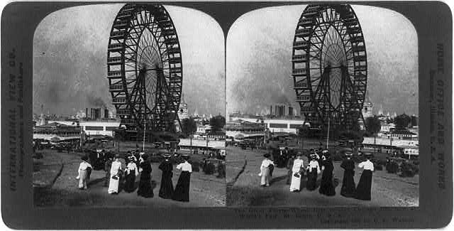 The first Ferris Wheel, erected for the 1893 World's Columbian Exhibition in Chicago, was just one of many diversions available to fairgoers. (Library of Congress/American Memory Collection)