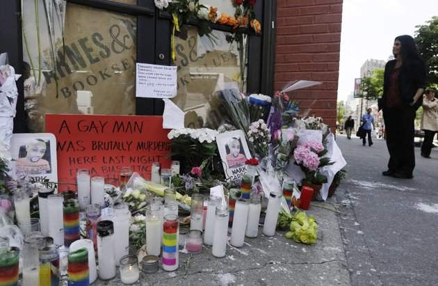 Memorial from a New York City rally to honor Mark Carson, shot and killed in the city's historic West Village. (AP/Frank Franklin II)