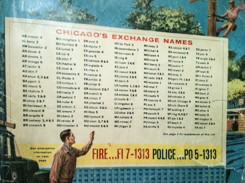 A Chicago phone book cover shows exchange names. Click for a larger size.