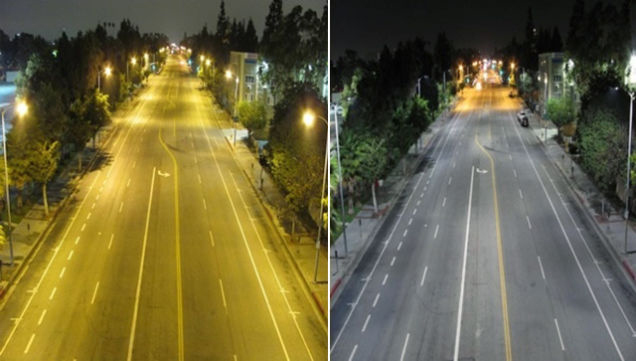 An example of the color differences in sodium vapor lighting, left, versus LED lighting, right, on a residential street in Los Angeles. (Courtesy Los Angeles Bureau of Street Lighting)