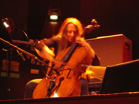 Cellist Jane Scarpantoni onstage in Amsterdam.