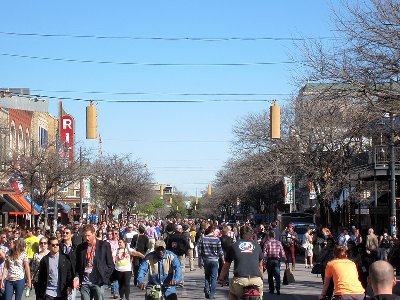 Sixth Street in Austin during SXSW 2013 (MrLaugh/Fickr, Creative Commons).