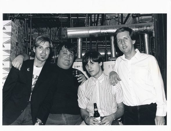 The Love Pushers (Worst. Band. Name. Ever.) in the basement of Maxwell's, 1986: Howard Wuelfing, a ringer for the young Chris Christie, Mick Hale and Jim Testa. (Photo by Andy Peters)