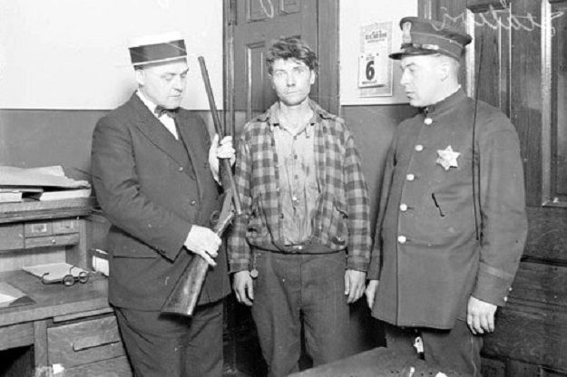Suspect in custody at Maxwell Street Police Station (Library of Congress)