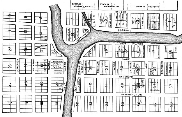 Thompson's 1830 Chicago map (Andreas, 'History of Chicago')