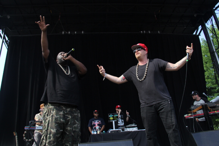 Killer Mike and El-P performing together (WBEZ/Andrew Gill)