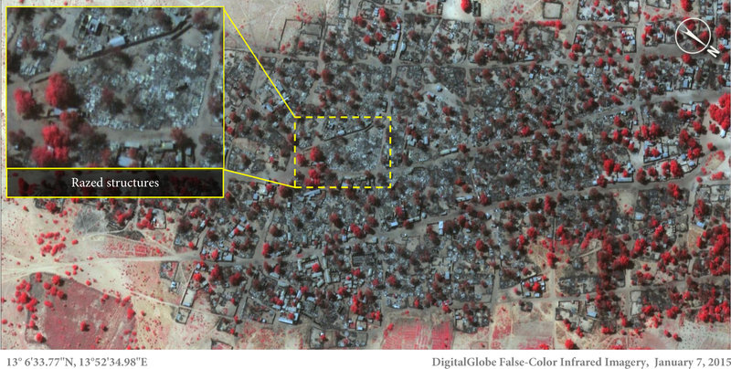 Satellite image of dense housing in Doro Baga taken on Jan. 7, following an attack by Boko Haram. This shows almost all the structures razed. The inset demonstrates the level of destruction of most of the structures in the town. The red areas indicate the remaining healthy vegetation. Micah Farfour/DigitalGlobe