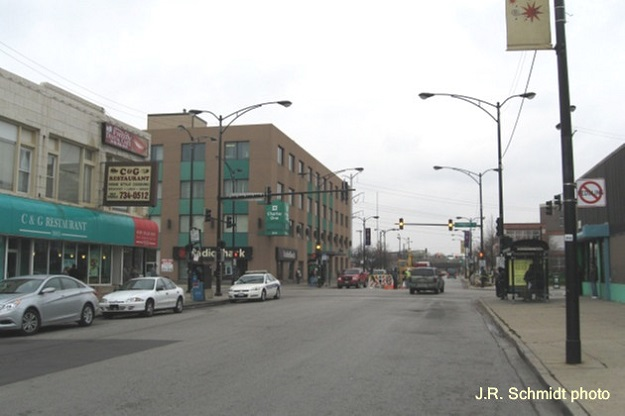 92nd Street at Commercial Avenue, view west