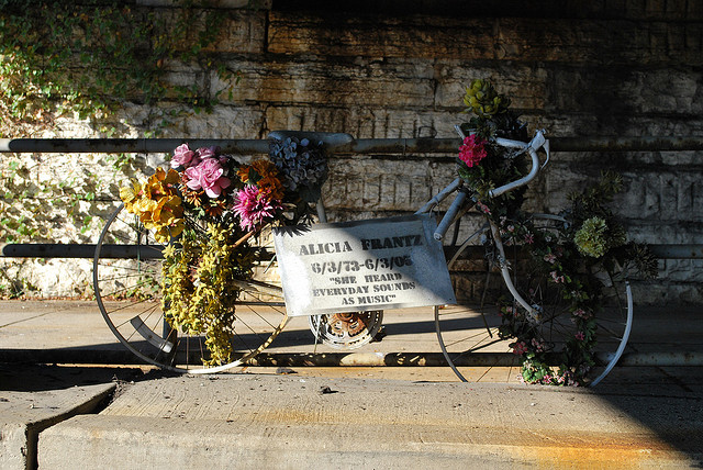 This is an example of a ghost bike, which memorializes bikers who have died on the road. (Flickr/rocketlass)