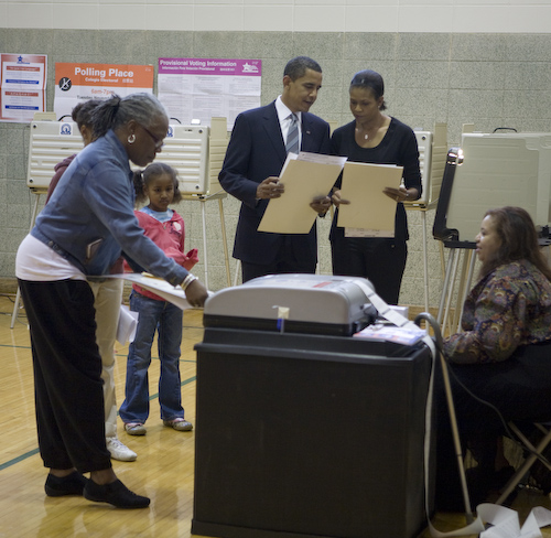 Democratic Presidential Nominee, Senator Barack Obama and his wife Michelle vote in Chicago, IL on election day, Nov. 4, 2008. (David Katz/Obama for America)