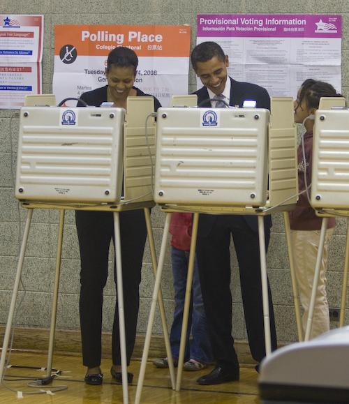 Democratic Presidential Nominee, Senator Barack Obama and his wife Michelle vote in Chicago, IL on election day, Nov. 4, 2008. (David Katz/Obama for America)