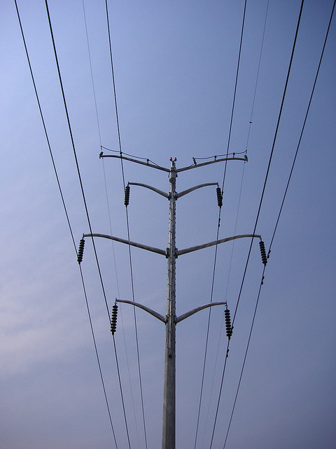 Power lines against the blue sky in Chicago. (Flickr/Eric Allix Rogers)