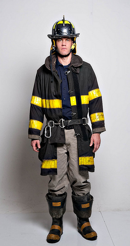 An example of a Chicago firefighter's bunker gear. (Flickr/Colin Davis)