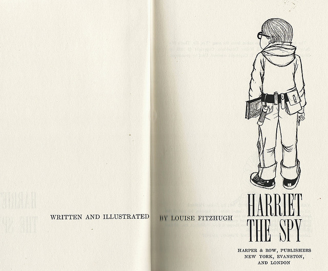 """Inside spread from a vintage copy of the book, """"Harriet the Spy"""" written and illustrated by Louise Fitzhugh. (Flickr/CalsidyRose)"""
