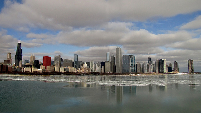 File: Chicago skyline in winter. (Flickr/ Russell Sekeet)