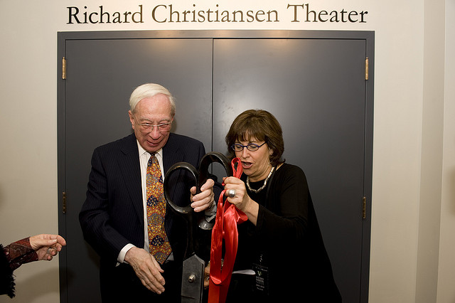 Richard Christiansen and Victory Gardens Executive Director, Jan Kallish, at the opening of the new theater in 2010. (Flickr/Victory Gardens)