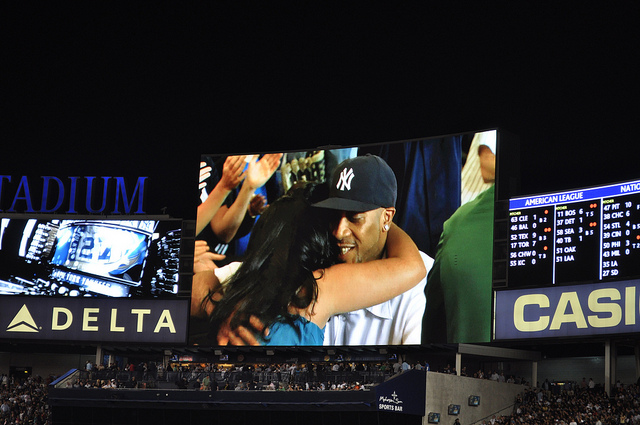 A proposal at a Yankees vs. Twins game in 2010. (Flickr/Kai Brinker)