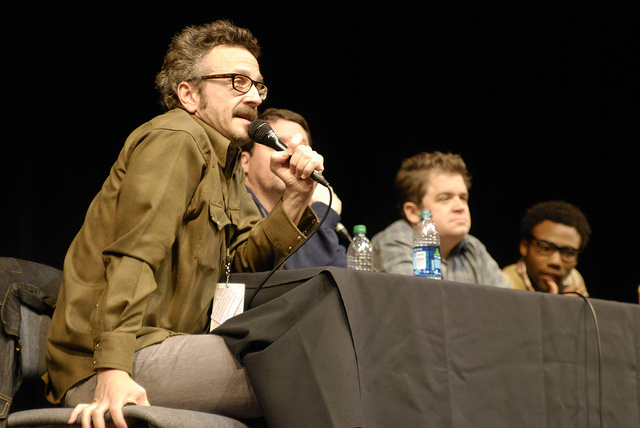 Marc Maron at a live taping of his podcast 'WTF' with, from right, Donald Glover and Patton Oswald. (Flickr/Shawn Robbins)