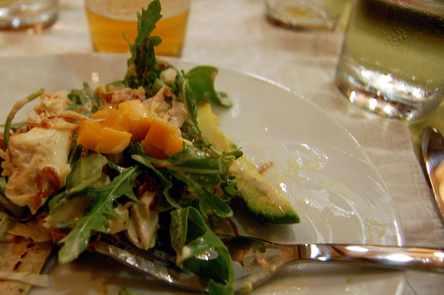 Lump crab salad with avocado, mango, and arugula; dressed with 5 Rabbit beer aioli  (WBEZ/Louisa Chu)