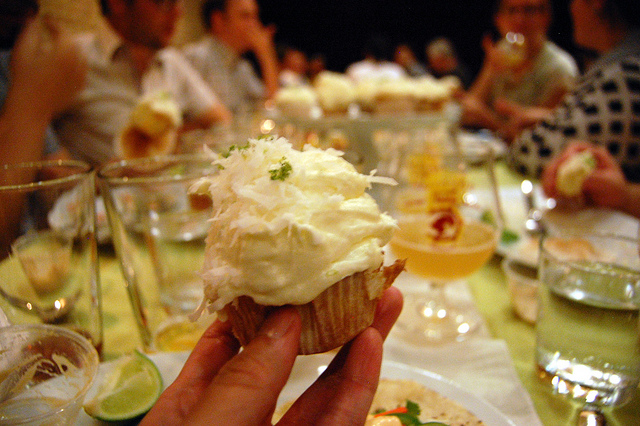 Coconut-lime cupcake with 5 Lizard cream cheese frosting, coconut, and lime zest (WBEZ/Louisa Chu)
