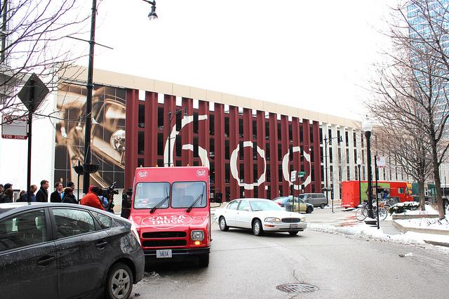 Food trucks standing in Chicago (WBEZ/Louisa Chu)