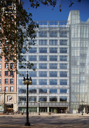 Design firm Gensler used a pixelated bird pattern frit on the facade of 618 S. Michigan Ave. (Steve Hall)