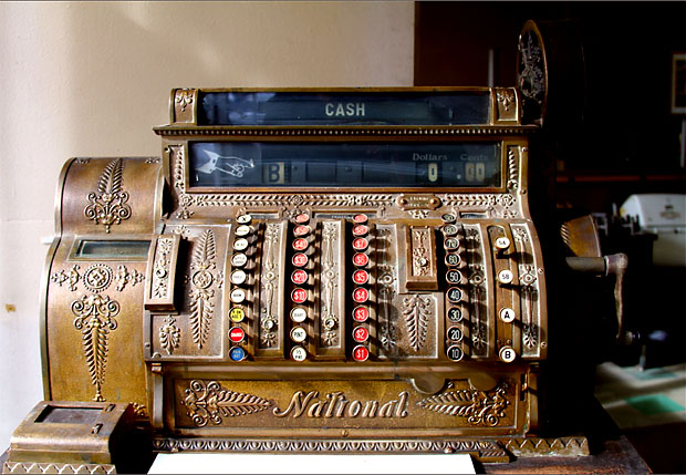 An antique cash register from a hotel bar at the A.J. Thomas Midwest Cash Register Company in Chicago's West Loop. (Tricia Bobeda/WBEZ)