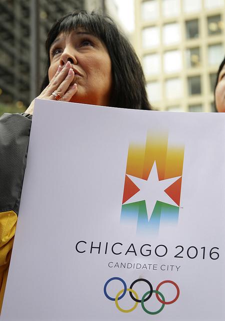 A Chicago 2016 supporter reacts during the announcement from the 121st International Olympic Committee on the host city for the 2016 Summer Olympic Games in 2009. (AP/Morry Gash)