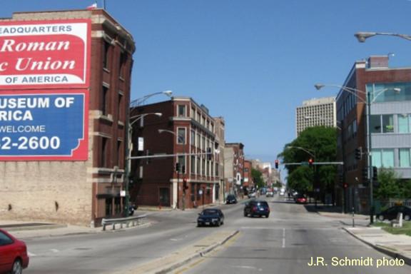 Milwaukee Avenue at Augusta Boulevard -- view northwest