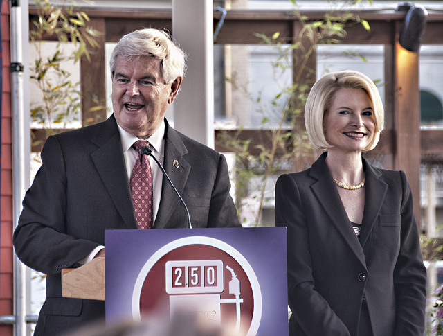 Newt Gingrich and his wife Callista campaigning in Louisiana in March. (Flickr/Peter Clark)