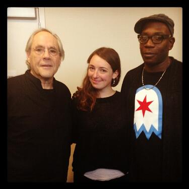 'Morning AMp' hosts Molly and Brian with Robert Klein. (Twitter @brianbabylon)