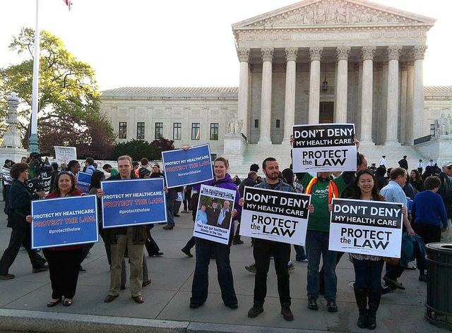 Healthcare activists gathered in front of the Supreme Court to demonstrate support for ACA in March. (Flickr/SEIU International)