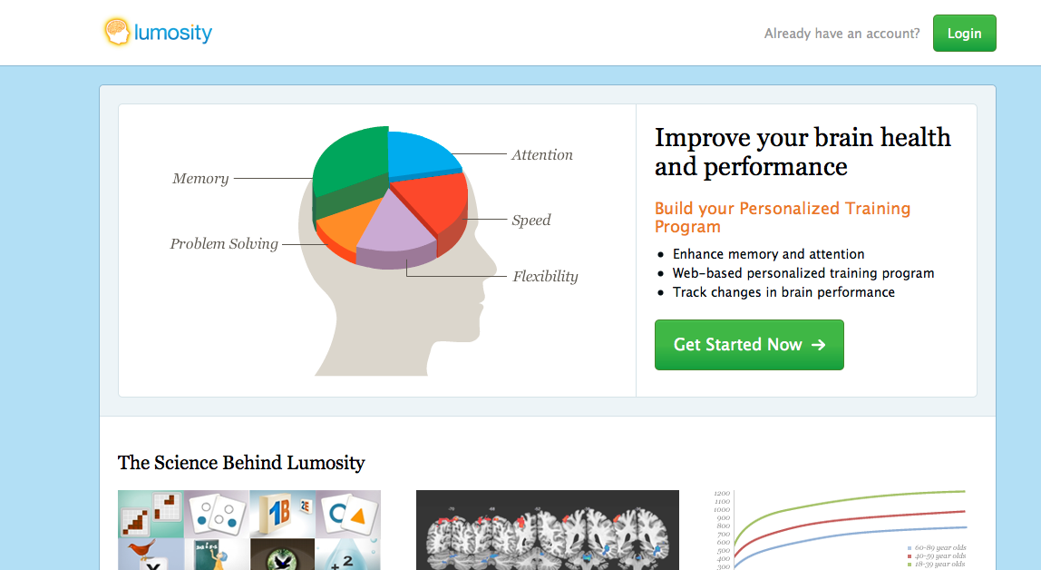 The Lumosity interface is pictured in this image from lumosity.com. (flickr/Lydia Darnall)