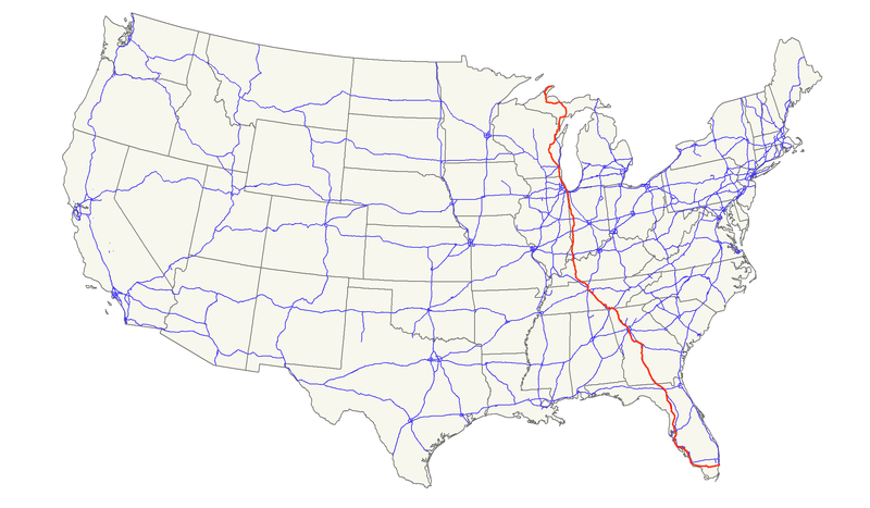 U.S. Route 41 expands from Michigan's Upper Peninsula to Miami, Florida. In Chicago, the highway overlaps with Lincoln Avenue for five miles. (Wikimedia Commons/Nick Nolte)