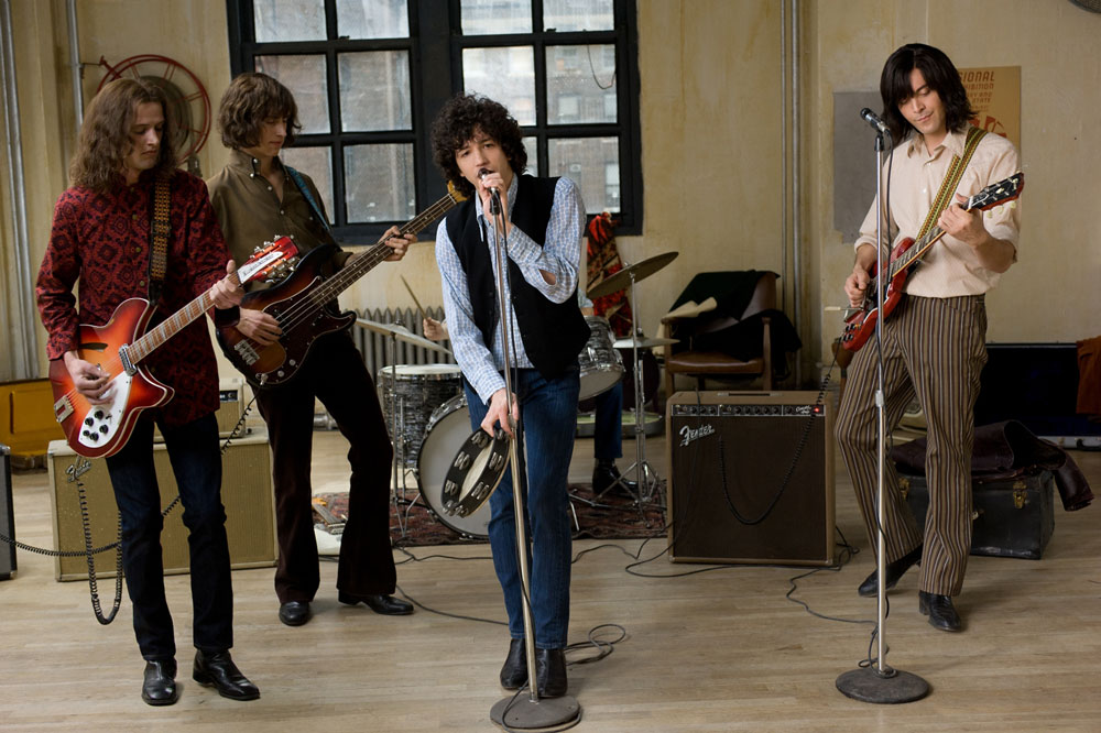 David Chase's garage band: John Magaro, center; Jack Huston, right.
