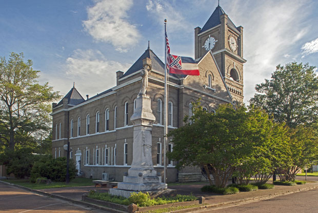 The courthouse in Sumner, Miss., where, in 1955, an all-white jury acquitted two white men in Till's murder. A debate rages in Mississippi over the state flag, which includes the Confederate flag. But it still flies at the courthouse. (Langdon Clay)